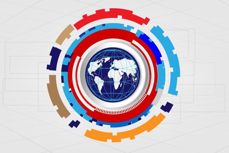 Vector el concepto global digital de la tecnología, fondo abstracto ilustración del vector