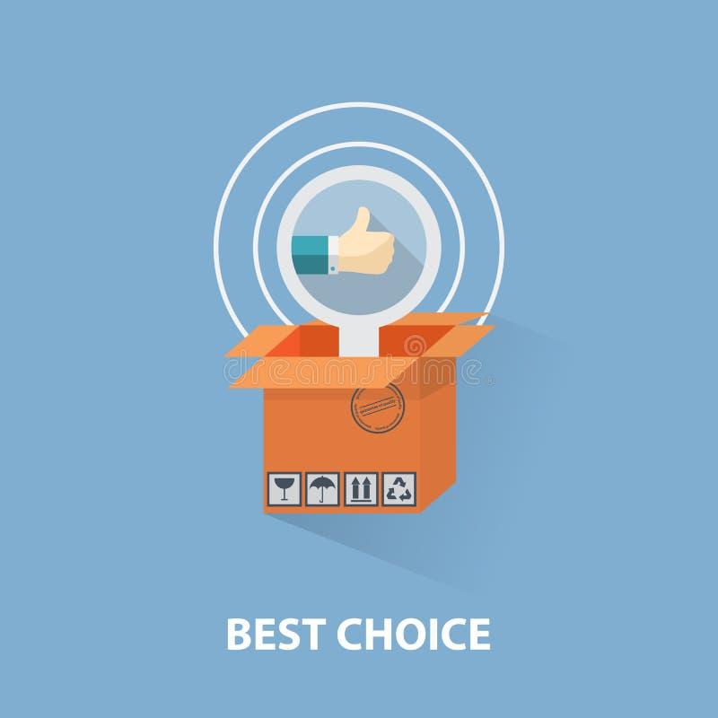 Vector el concepto plano de las compras del diseño y el mejor libre illustration