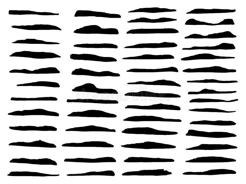 Vector el conjunto de diversos cepillos Líneas negras de la brocha stock de ilustración