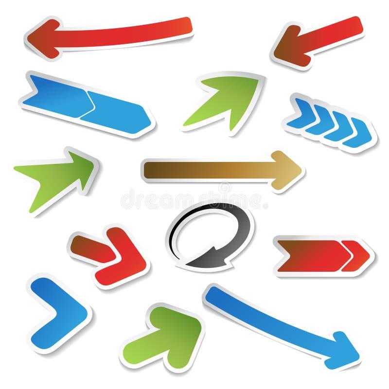 Vector el conjunto de etiquetas engomadas de la flecha stock de ilustración