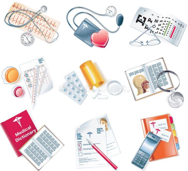 Vector el conjunto médico del icono libre illustration