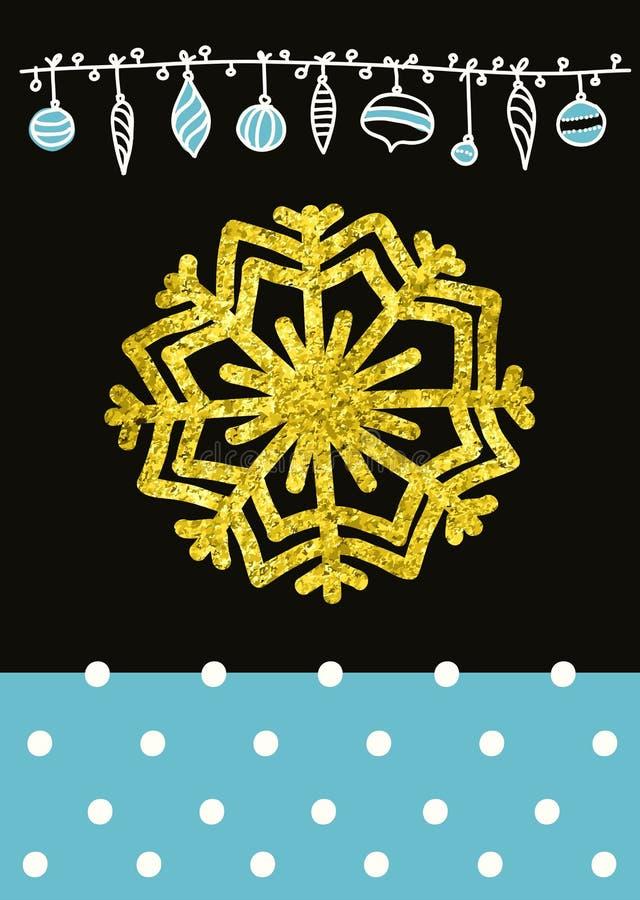 Vector el copo de nieve caligráfico del diseño de la Navidad, con una textura del oro stock de ilustración