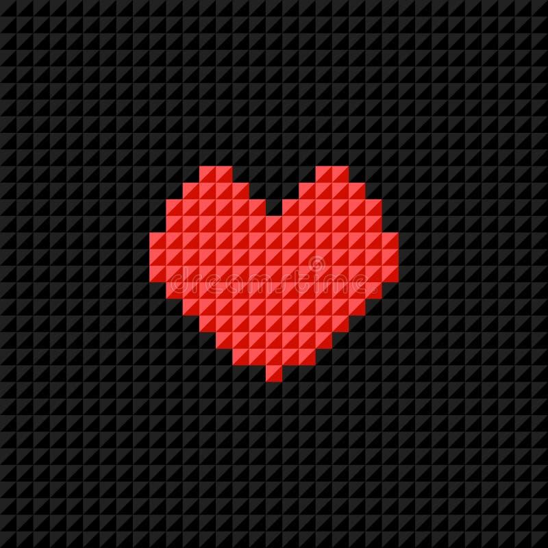 Vector el corazón del arte del pixel en fondo negro del pixel Símbolo del amor libre illustration
