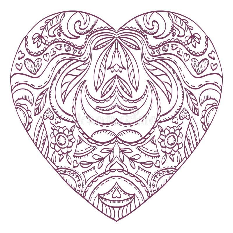 Vector El Corazón Para Colorear Con Los Elementos Decorativos De Las ...