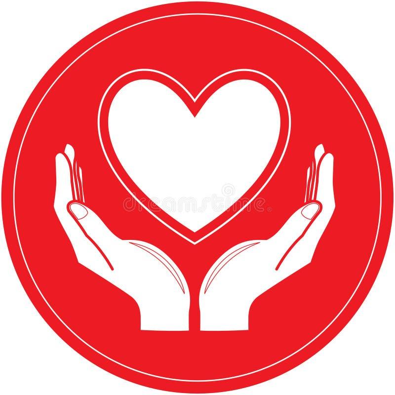 Vector el corazón y da el icono stock de ilustración