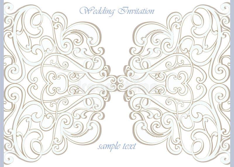 Vector el cordón ornamental de la tarjeta de la invitación con los elementos del damasco stock de ilustración