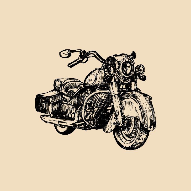 Vector el crucero dibujado mano para la bujía métrica, logotipo del motorista, etiqueta El vintage detalló el ejemplo de la motoc stock de ilustración