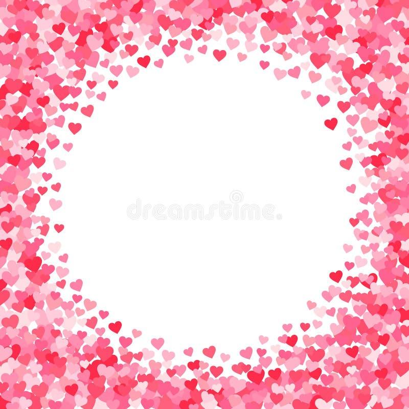 Vector el cuadro de texto rosado y rojo de los corazones de los días de tarjetas del día de San Valentín ilustración del vector