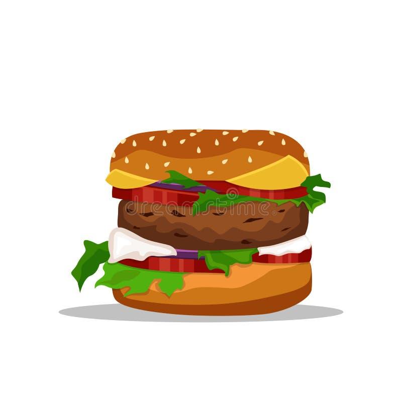 Vector el dibujo de la hamburguesa con el queso, tomates, tajada, lechuga, cebolla, pepino en estilo plano de la historieta Ilust libre illustration