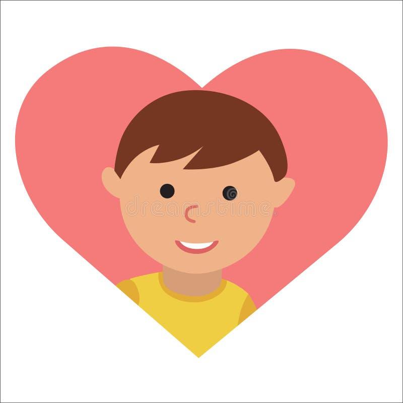 Vector el dibujo del niño pequeño del icono en el corazón stock de ilustración