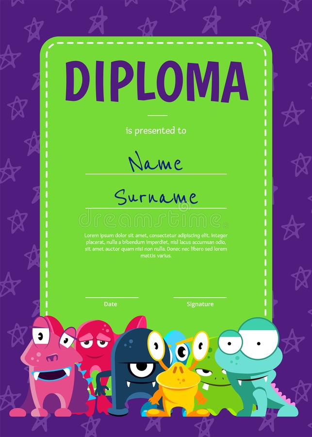 Vector el diploma o el certificado vertical de los niños con la muchedumbre de monstruos lindos de la historieta en fondo de las  stock de ilustración