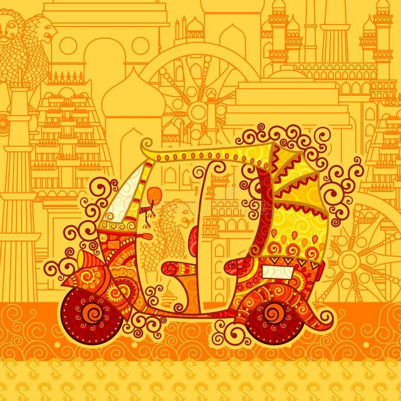 Vector el diseño de carrito auto en el contexto famoso del monumento libre illustration