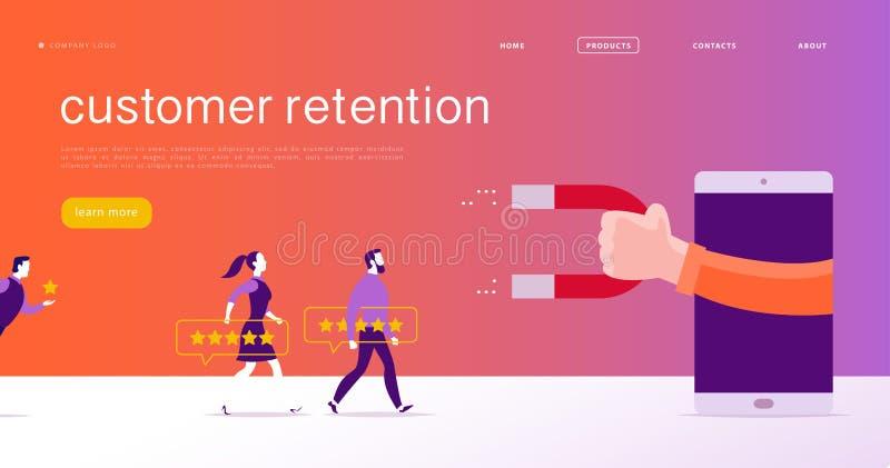 Vector el diseño de concepto de la página web, tema de la retención del cliente P ilustración del vector