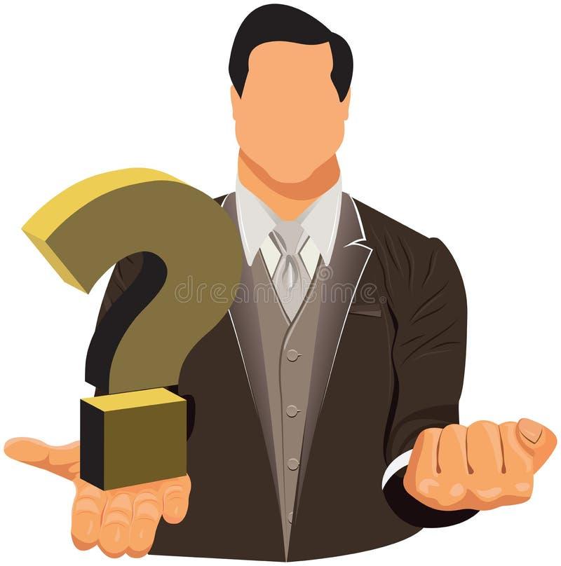 Vector el diseño de hombre de negocios en traje con el signo de interrogación stock de ilustración