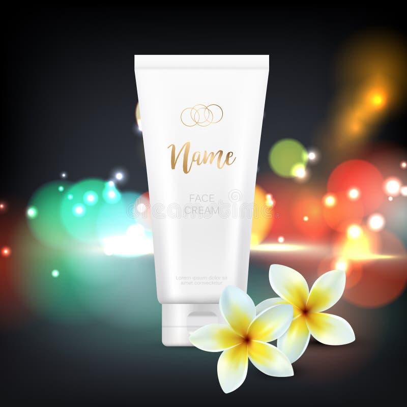 Vector el diseño de plantilla cosmética de la publicidad del paquete para la crema de la mano o de cara Ejemplo del vector en neg stock de ilustración
