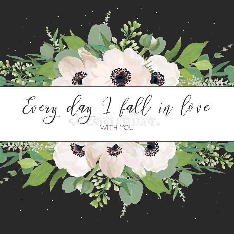 Vector el diseño de tarjeta floral con la luz de la acuarela, anémonas rosadas, hojas del eucalipto, flores blancas de la lila, h ilustración del vector