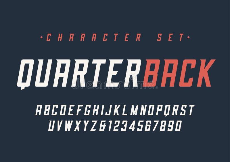 Vector el diseño dinámico cursivo condensado de la fuente de la exhibición, alfabeto, c stock de ilustración