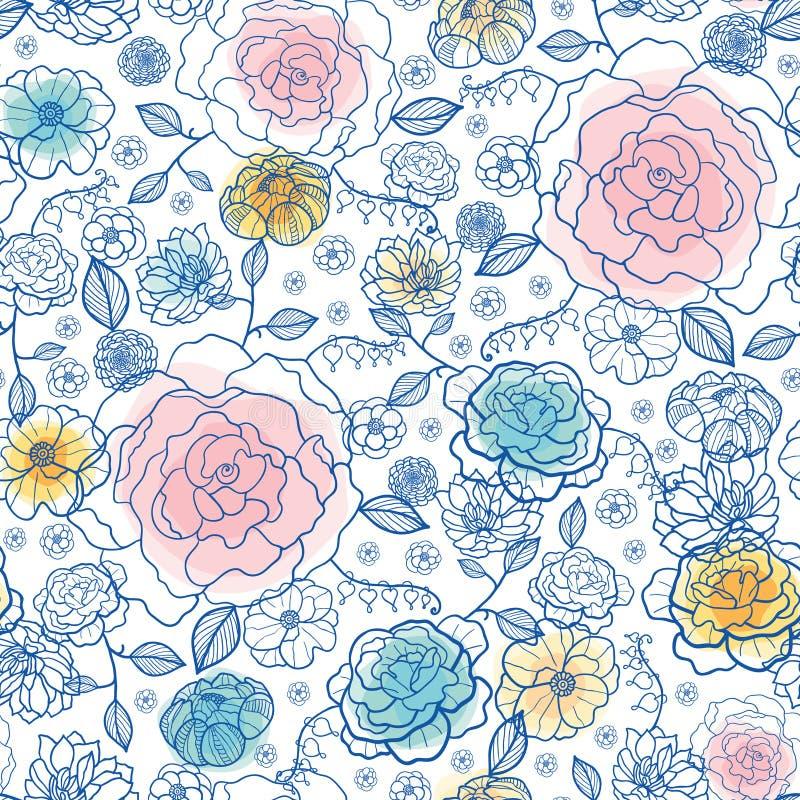 Vector el diseño inconsútil del bacgkround del modelo de la repetición de las flores de la marina de guerra y de la primavera de  libre illustration