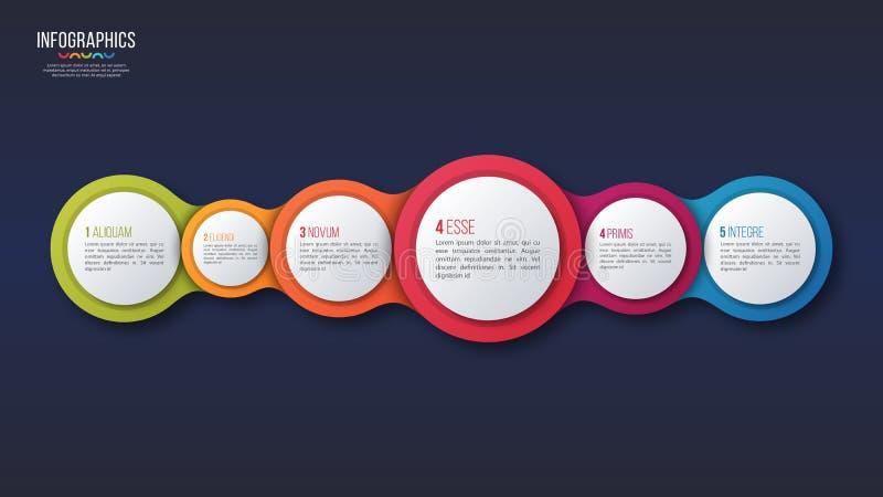 Vector el diseño infographic de 6 opciones, plantilla de la presentación stock de ilustración