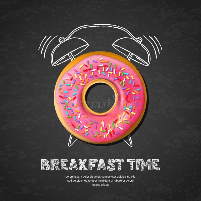 Vector el diseño para el menú del desayuno, café, panadería El buñuelo y el onblack dibujado mano del despertador suben al fondo ilustración del vector