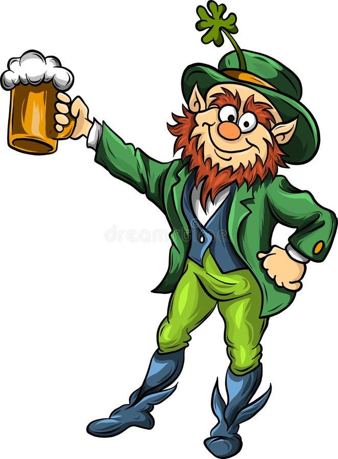 Vector el duende del duende con la cerveza para el día de St Patrick s stock de ilustración