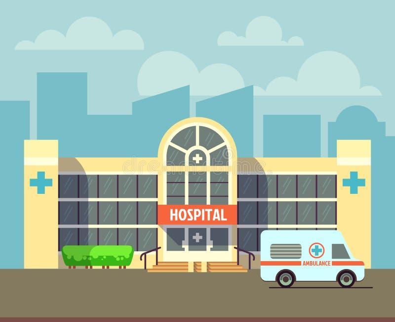 Vector el edificio del hospital de la ciudad en estilo plano del diseño libre illustration