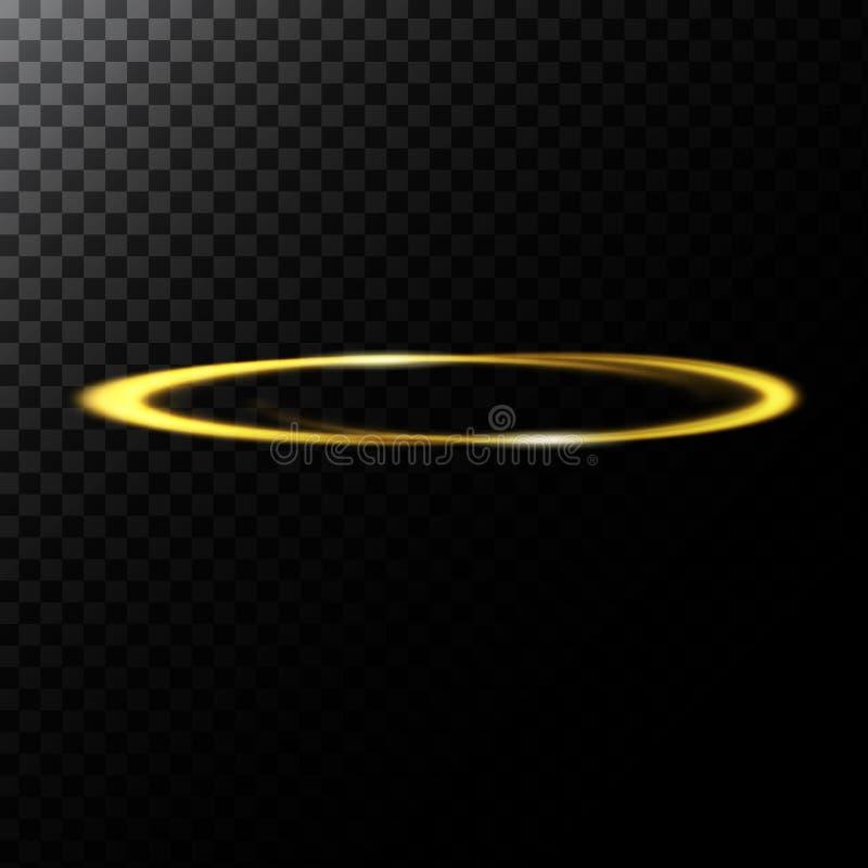Vector el ejemplo abstracto de un efecto luminoso en la forma de un círculo de oro stock de ilustración