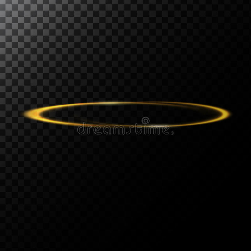 Vector el ejemplo abstracto de un efecto luminoso en la forma de un círculo de oro ilustración del vector