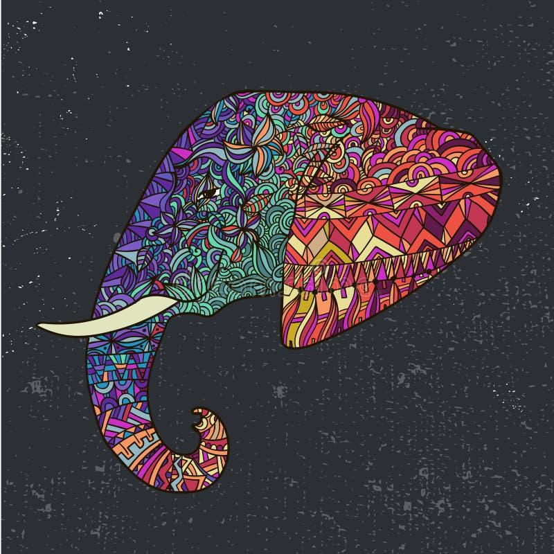 Vector el ejemplo adornado adornado tribal colorido dibujado mano del elefante stock de ilustración