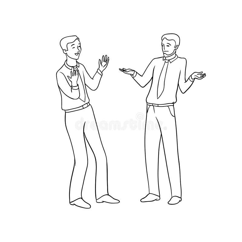 Vector el ejemplo aislado contorno negro del bosquejo de hombres de negocios Intercambio emocional de opiniones y de ideas, stock de ilustración