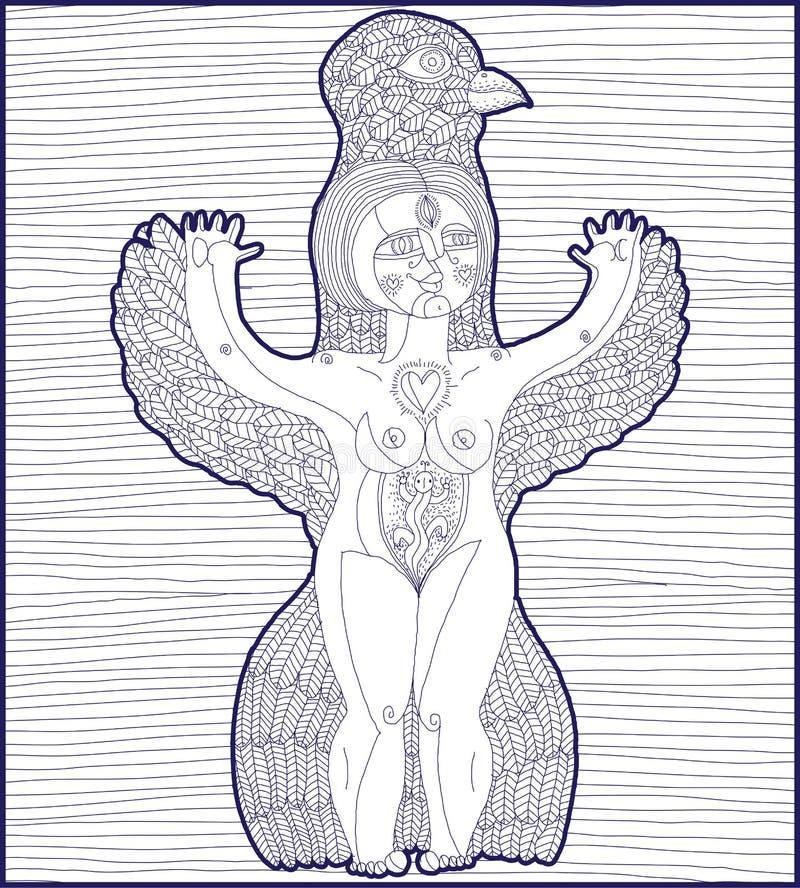 Vector el ejemplo alineado de la criatura extraña, mujer desnuda con w libre illustration