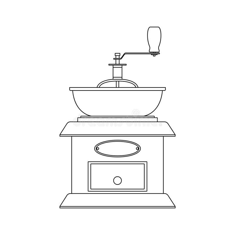 Vector el ejemplo blanco y negro de la amoladora de café manual stock de ilustración