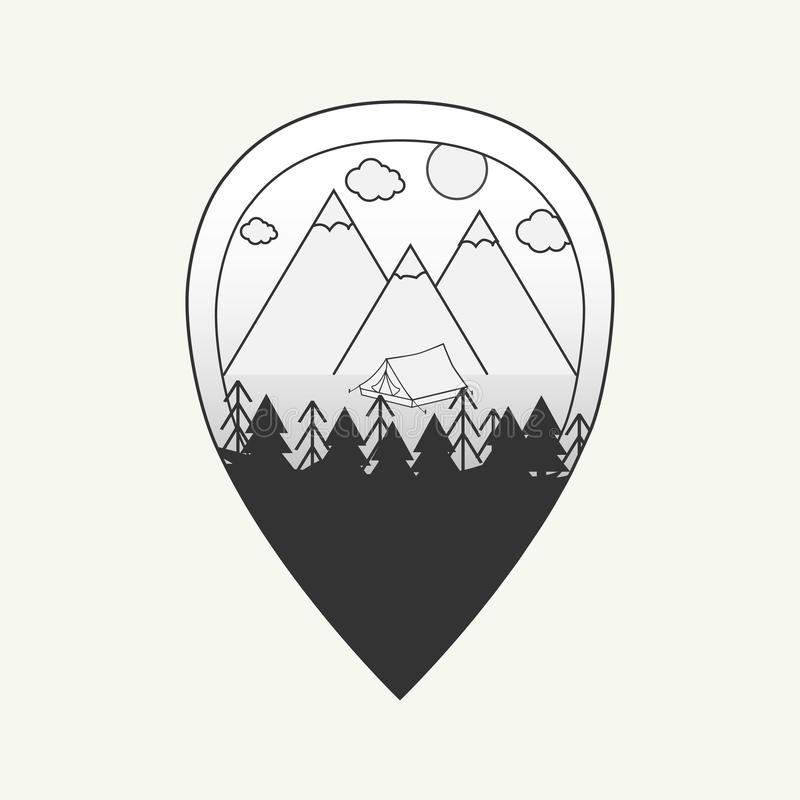 Vector el ejemplo blanco y negro del perno del mapa con las montañas, la tienda y el bosque fotos de archivo