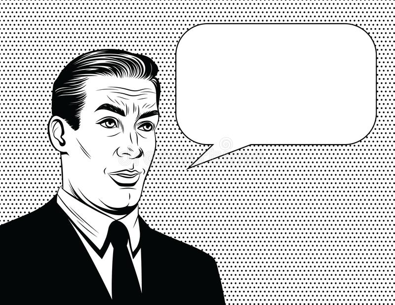 Vector el ejemplo cómico blanco y negro del estilo de un encargado con la cara emocional sobre fondo del punto stock de ilustración