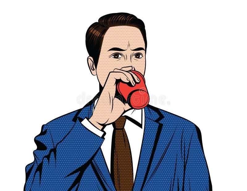 Vector el ejemplo cómico colorido del estilo del arte pop de un hombre de la oficina con la taza de café libre illustration