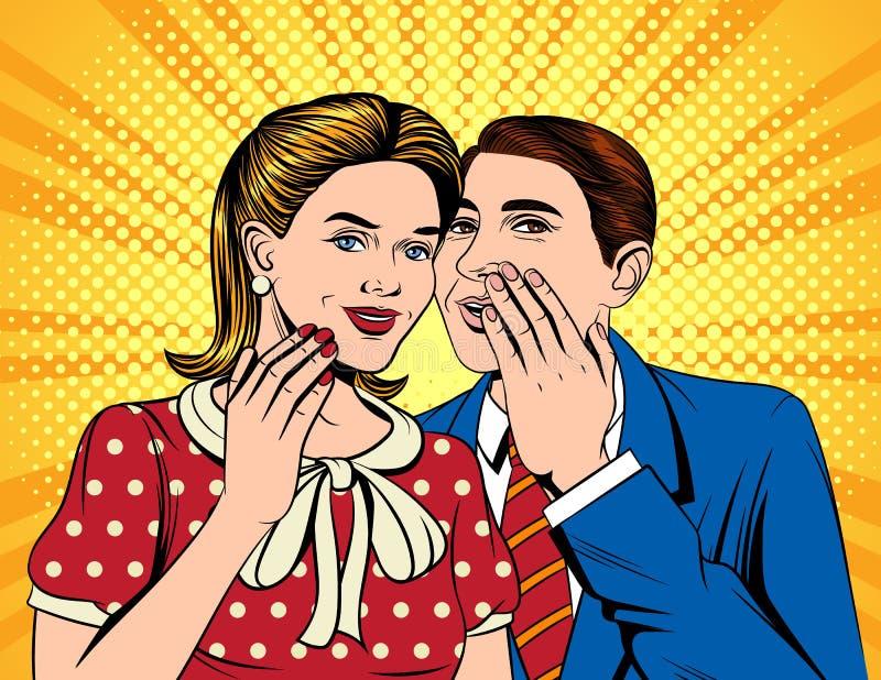 Vector el ejemplo cómico colorido del estilo del arte pop de un hombre que dice un secreto a una mujer ilustración del vector