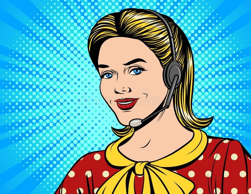 Vector el ejemplo cómico colorido del estilo de una mujer hermosa en los auriculares que hacen una llamada ilustración del vector