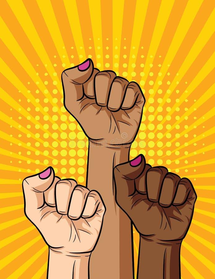 Vector el ejemplo cómico retro del estilo del arte pop nacionalidades del puño del ` s de la mujer de las diversos y color de pie ilustración del vector