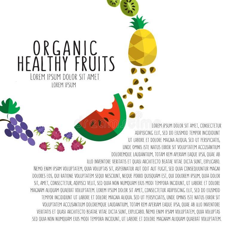 Vector el ejemplo colorido de la plantilla colorida de la fruta en plano stock de ilustración