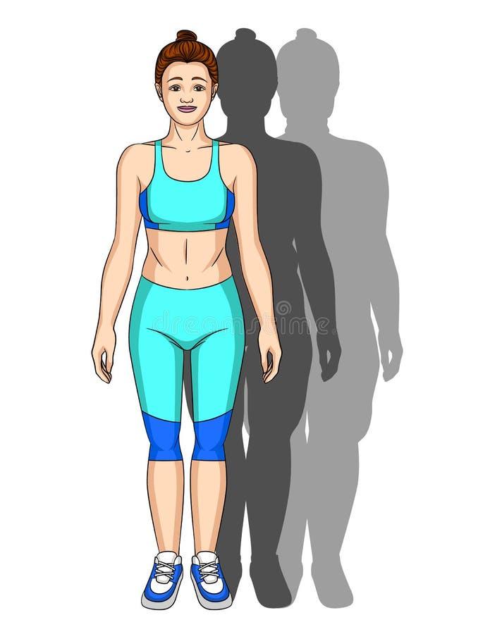 Vector el ejemplo colorido de la silueta de la transformación del cuerpo ilustración del vector