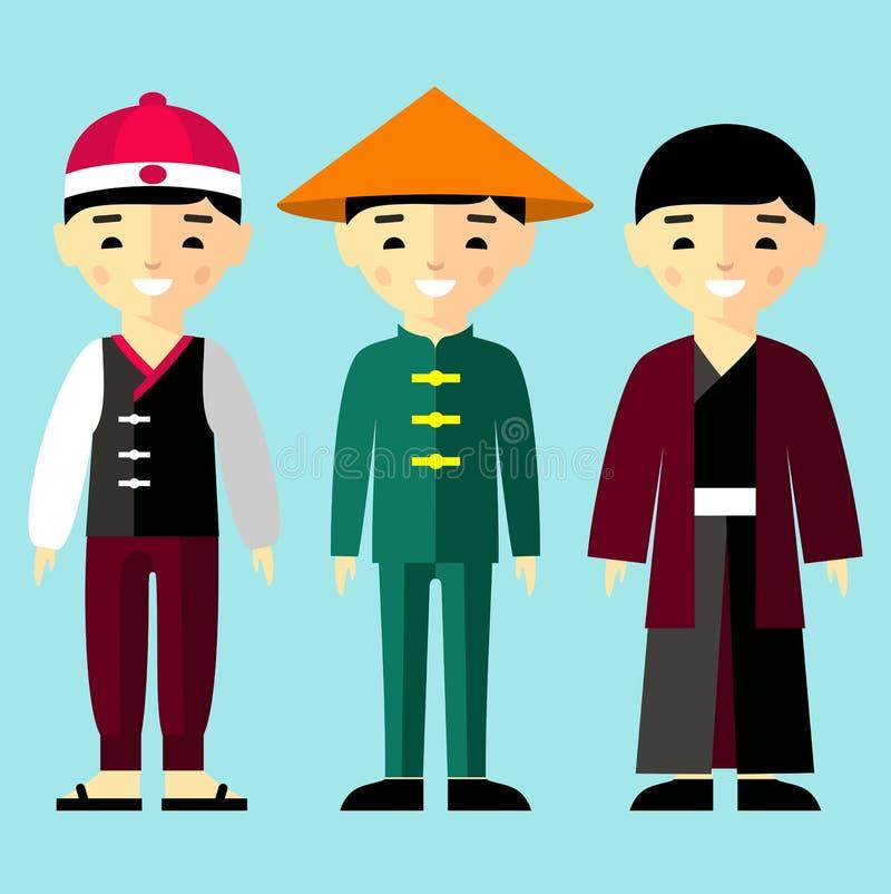 Vector el ejemplo colorido de muchachos asiáticos en ropa nacional stock de ilustración