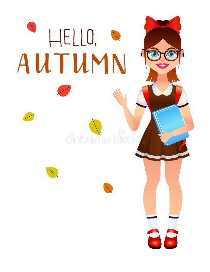 Vector el ejemplo colorido de una niña linda en uniforme alistan para la escuela stock de ilustración