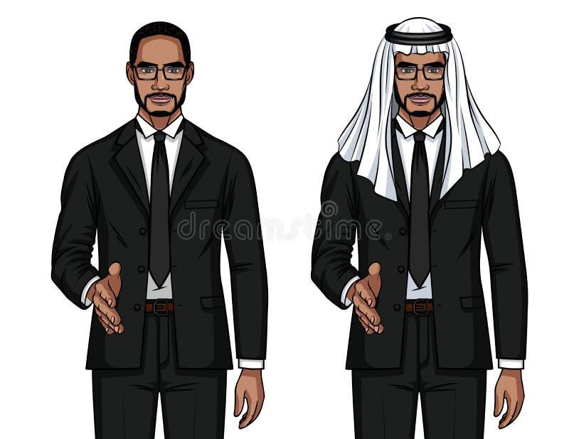 Vector el ejemplo colorido del estilo de la historieta de un hombre de negocios árabe que sacude una mano stock de ilustración
