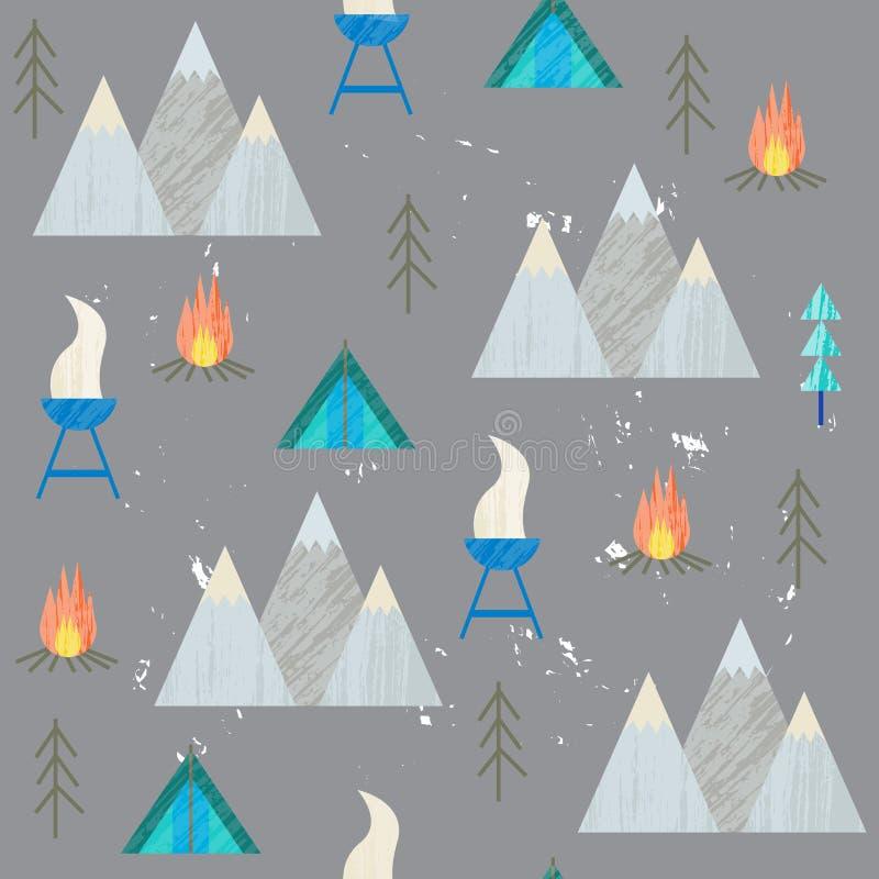 Vector el ejemplo colorido del verano, viajando, días de fiesta El caminar, montañas, barbacoa libre illustration