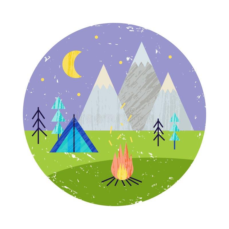 Vector el ejemplo colorido del verano, viajando, días de fiesta Caminar viaje, montañas, barbacoa libre illustration
