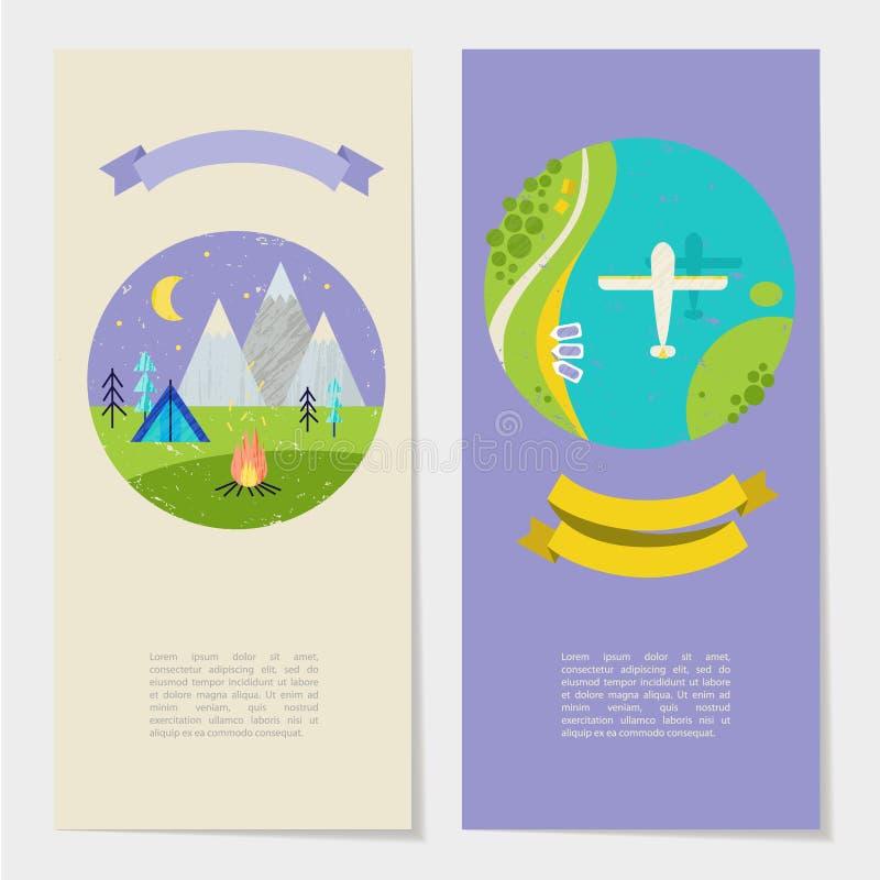 Vector el ejemplo colorido del verano, viajando, días de fiesta Sewt de banderas, de tarjetas, de aviadores con la cinta y de la  libre illustration