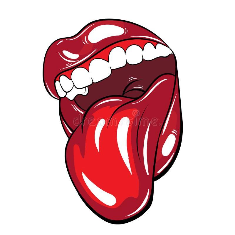 Vector el ejemplo colorido dibujado mano de la boca con la lengua libre illustration
