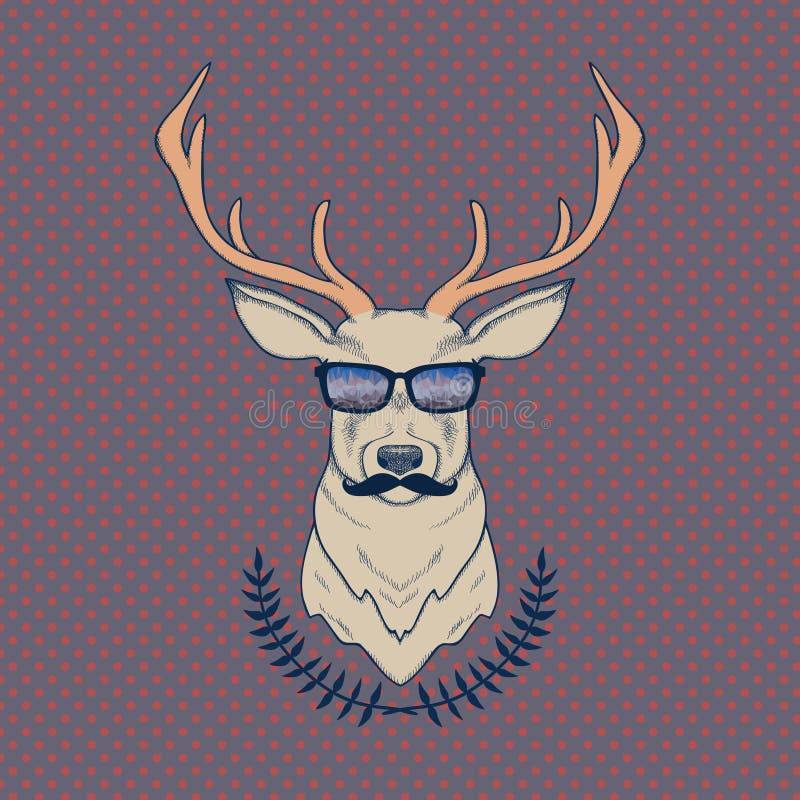 Vector el ejemplo colorido dibujado mano de los ciervos del inconformista con los bigotes stock de ilustración