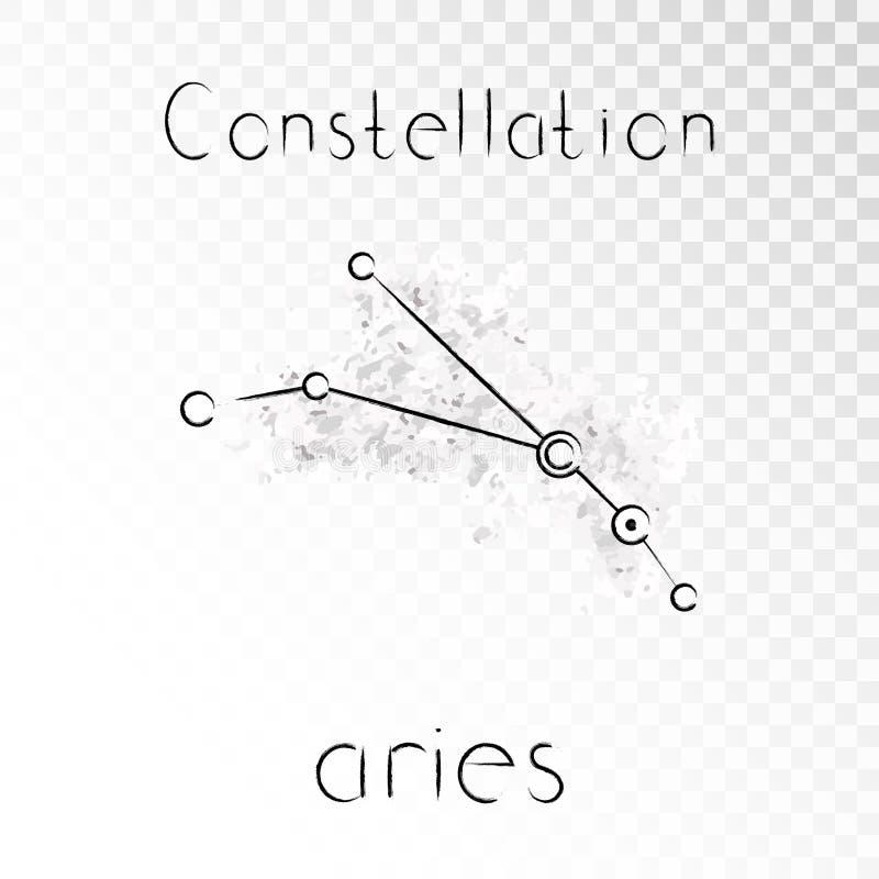 Vector el ejemplo con el ARIES de la constelación del zodiaco en un fondo de la tinta del grunge stock de ilustración