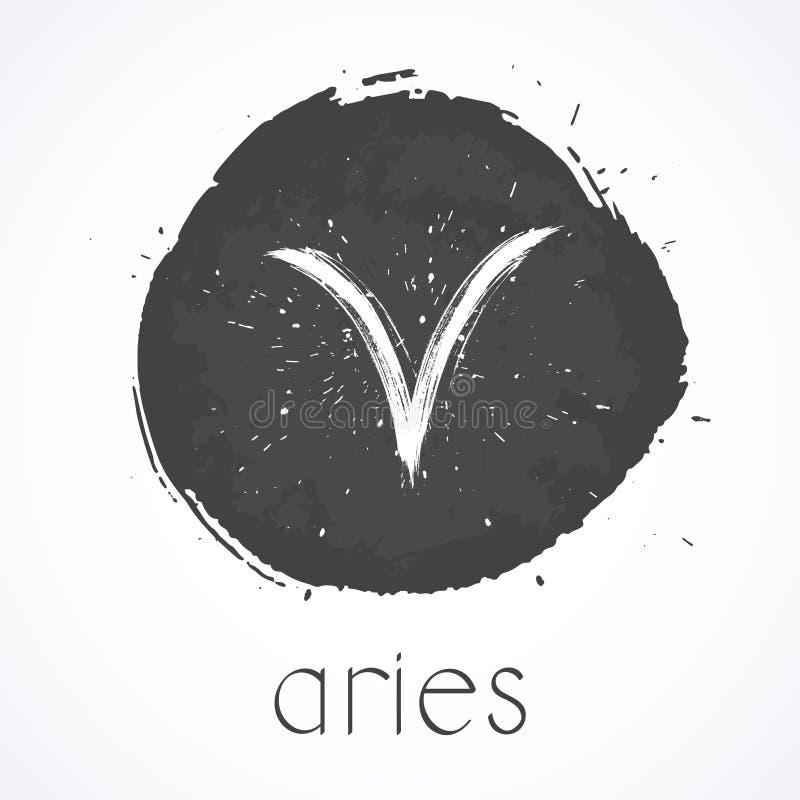 Vector el ejemplo con el ARIES dibujado mano de la muestra del zodiaco stock de ilustración
